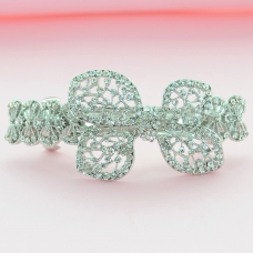Sparkling Double Clip Crystal Bow Barrette