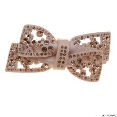 Cellulose Acetate Handmade Crystal Bow Barrette