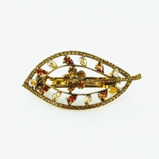 Luxurious Cubiczirconia Cutout Leaves Barrette