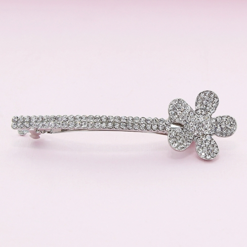 Crystal-Embellished Flower Barrette (Clip France)