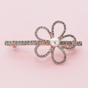 Crystal-Embellished Flower Barrette (Clip France)