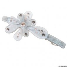 Crystal Two Tone Graphic Flower Barrette ClipParis
