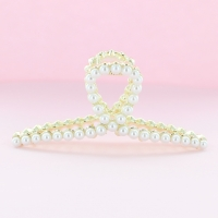 Large Big Strong Sturdy Metal Pearl Hair Claw Clip
