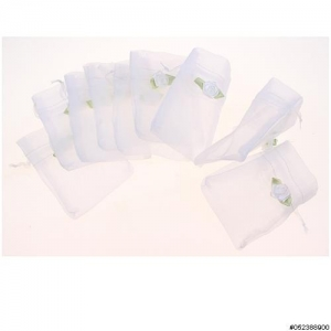 Flower Deco Matching Drawstring Organza Bag