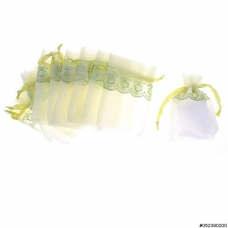 Lace Deco Matching Drawstring Organza Bag