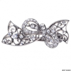 Vintage Inspired Crystal Bow Pinch Clip