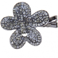 Crystal Covered Flower Mini Pinch Clip