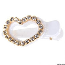 Lovely Crystal Heart Plastic Pinch Clip