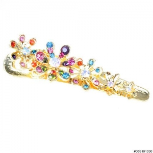 Crystal Flower Pinch Clip