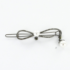 Hanging Pearl Crystal Open Bow  Barrette