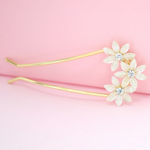 Bride Rhinestone Flowers Hair Pin