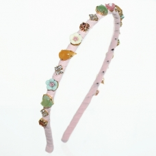 Handcrafted Gemstone,Crystal&Emboss Roses Headband