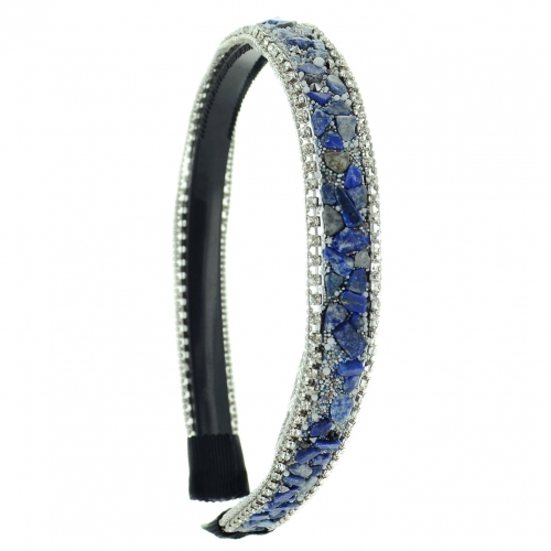 Semiprecious Stone Beaded & Crystal Headband