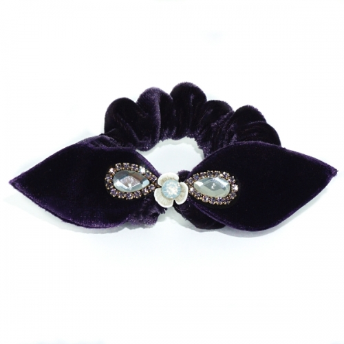 Silk Like Velvet Crystal Bow Ponytail Holder