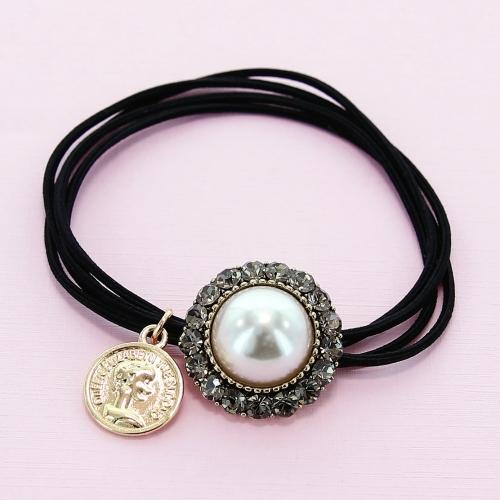 Crystal & Pearl Embellished Ponytail Holder