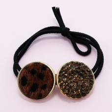 Crystal & Animal Print Ponytail Holder