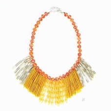 Crystal Beaded Fringe Necklace
