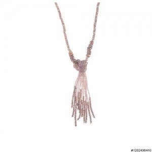 Crystal Tassel Necklace,, White