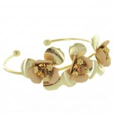 Gold Tone Flower Cuff