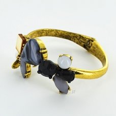 Stone Open Hinge Cuff Bangle
