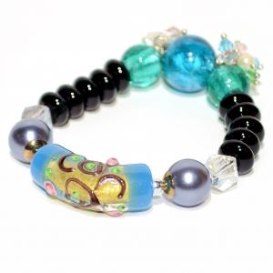 Hand Art Craft Beads & Crystal Stretch Bracelet