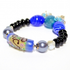 Hand Art Craft Beads & Crystal Stretch Bracelet
