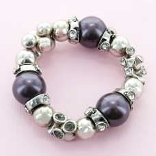 Rhinestone & Pearl Stretch Bracelet