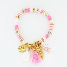 Crystal,Shell,Beaded & Tassel Stretch Bracelet