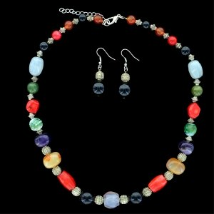 Mix Quartz Stones Necklace Set