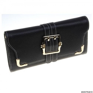 Buckle Textured Faux Leather Wallet On A Chain