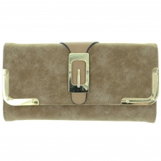 Buckle Fuax Leather Wallet On Chain