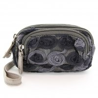 Floral Triple Compartment Wristlet Change Purse