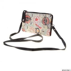 Vegan leather crossbody mixed print cellphone bag