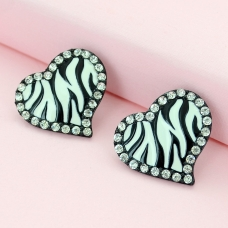 Crystal Deco Heart Earrings