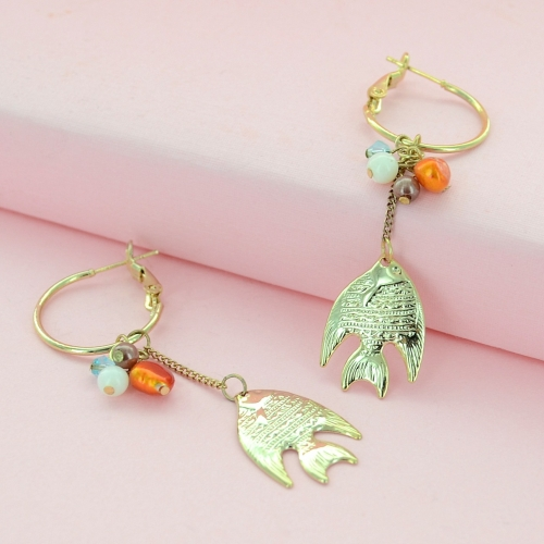 Golden Fish Hoop Drop Earrings