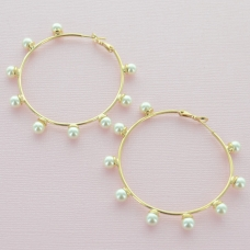 Faux Pearl Hoop Earrings