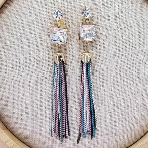 Crystal Deco Tassel Drop Earring