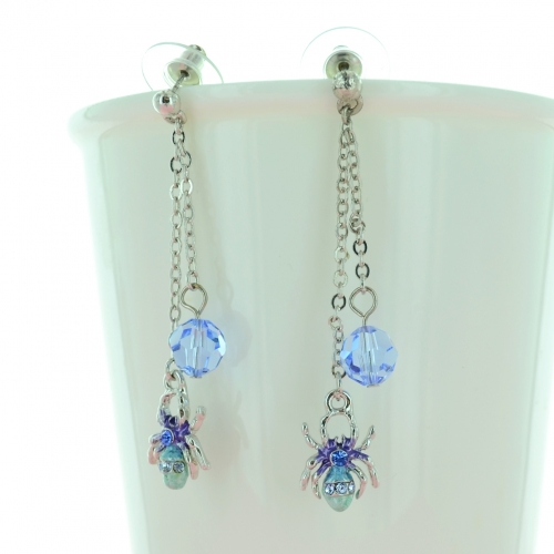 Drop Crystal And spider Earring