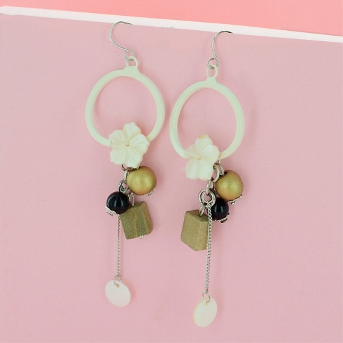 Flower Beaded Drop Earrings