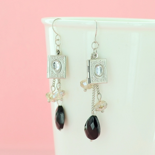 Locket Crystal Drop Earrings