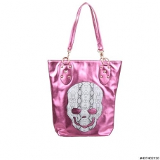 Metallic Vegan Leather Skull Tote