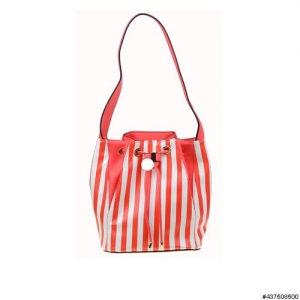 Vegan Leather Stripe Bucket Bag