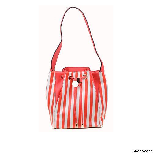 Vegan Leather Stripe Bucket Bag