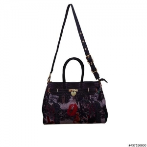 Stylish Mix Print Tote, Polyester (Large)