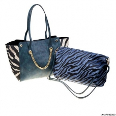 Zebra Print Metal Chain Tote W/ Inner Pouch