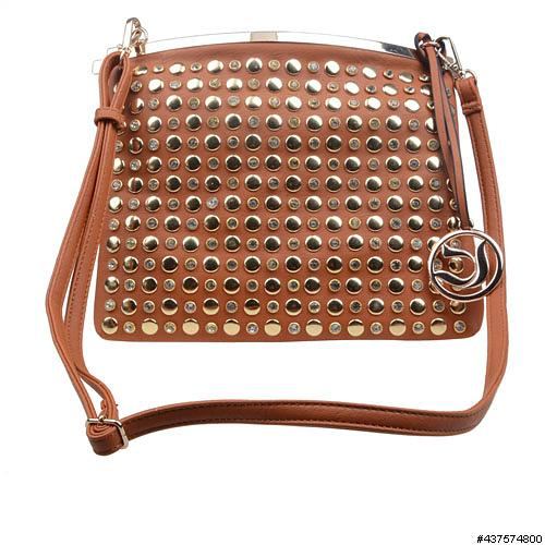 CrystalStudded Faux Leather ClipOpen Crossbody Bag