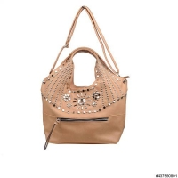 Vegan Leather Studded Detail Shoulder Bag