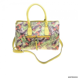 Floral Print Crystal Detail Vegan Leather Bag