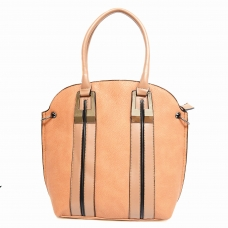 Strip Medium Faux Leather Satchel