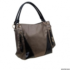 LiquidShine Vegan Patent Leather trim Shoulder Bag